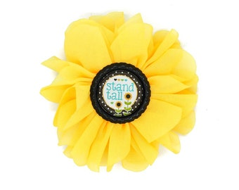 Stand Tall Sunflower Yellow Chiffon Hair Flower with Black Bottlecap Cameo