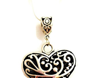 Heart Necklace, Silver Heart Necklace, Antiqued Silver Heart Necklace, Silver Chain 18 inches , 24 inches or 28 inches