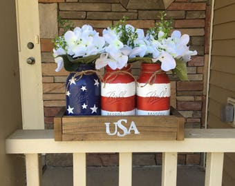 4th of july jars, American flag decor, USA, Memorial day decor, 4th of July, Patriotic decor, Americana Decor, Planter box, Rustic living,