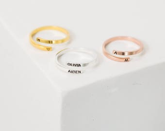 Custom Name Ring • Personalized Letter Ring • Gold Dainty Ring • Custom Initials Ring  • Wrap Ring • Gift for Her • MOTHERS GIFT • RM33F30