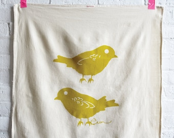 Chickadee Tea Towel, Golden Rod, Sea Blue, or Mango