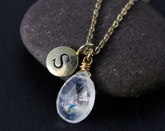 Rainbow Moonstone Name Necklace – Choose Your Pendant