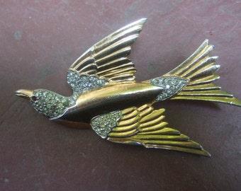 ART DECO Gilt Metal Stylized Bird Brooch