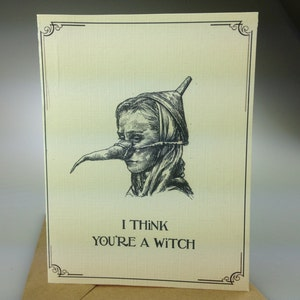 Birthday card monty python etsy i think youre a witch funny card with monty python holy grail reference bookmarktalkfo Gallery