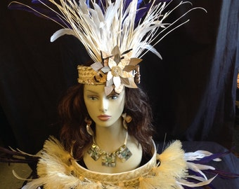 Costume Set. Authentic Hau Grass Hip Hei & Headpiece . Tahitian And Cook Islands Children And Adult Hip Hei Set.