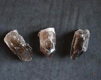 4 Smoky Quartz Crystal Points for healing, Reiki and meditation