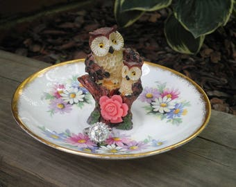 Vintage Woodland Owl Ring Dish Jewelry Plate - Retro Floral China Owl Trinket Plate - Forest Owls Animal Jewelry Storage / Home Decor Gift