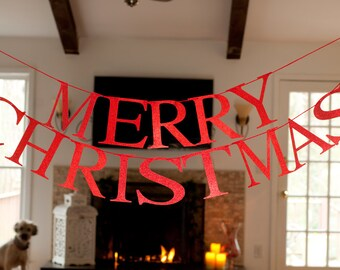 Merry Christmas Word Banner, Merry Christmas Red Glitter Banner, Christmas Garland, Merry Christmas Banner G005