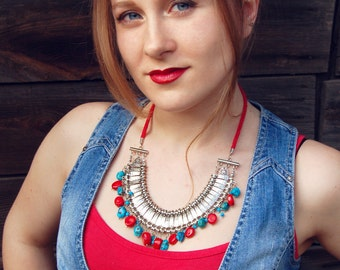 Boho necklace Statement necklace Bib necklace Silver Bohemian necklace Corals Turquoise Ethnic necklace Tribal necklace Antique Necklace