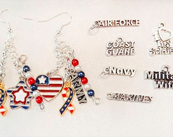 MILITARY EARRINGS, military jewelry, Army earrings,Navy earrings, Coast Guard earring, Marine earring,Air Force earring, patriotic - 1172RWB