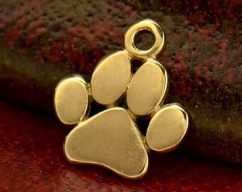 Solid 14K Gold, Paw Print Charm, Dog Paw Charm, Dog Paw, Dog Lover, Animal Jewelry, Gold Dog Paw, Solid Gold Paw, Gold Paw Print