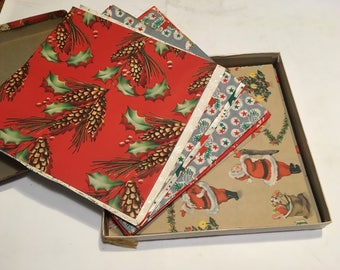 Vintage Christmas Paper, box and 21 sheets