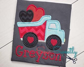 Valentine's Day Dump Truck Applique Design  - Embroidery Machine Pattern