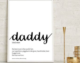 Daddy Definition Print Wall Art Prints Quote Print Wall Decor Minimalist Poster Print Modern Dad Gift Father Gift Print Daddy Wall Prints