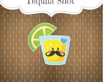 Tequila Shot Cookie Cutter, Shot Glass with Lime Cookie Cutter