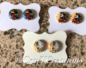 Disney Mickey and Pluto Nickel Free Water Resistant Fabric Button Earrings