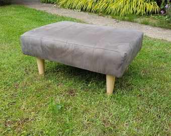 Footstool with suede fabric