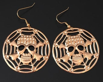 Gold Pirate Dangle Earrings, Skull And Crossbones Earrings, Pirate Earrings