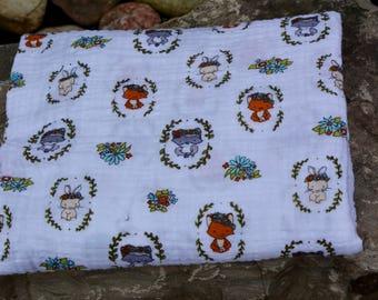 Swaddle Blanket/ Double Gauze Blanket/ Muslin Baby Blanket/ Baby Swaddling Blanket/ Baby Shower Gift