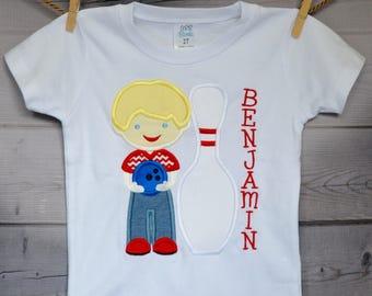 Personalized Bowling Bowler Boy Applique Shirt or Bodysuit
