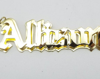 old english name plate , 14k solid gold ,2'' side to side  .deb