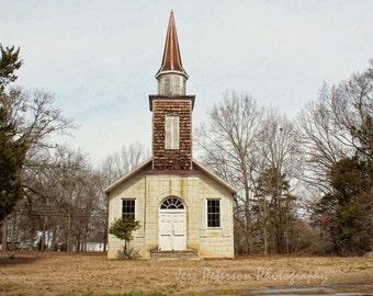 Historic Church Photo, Mount Ariel Greenwood, S.C. Wall Art, Brown, Tan, Black &  White Decor, Rustic Winter Home Decor 11x14 + 8x10 matted