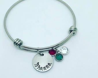 Mothers Personalized Bracelet - Grandma Birthstone Bracelet - Personalized Birthstone Bracelet - Granna Bracelet - Hand Stamped Jewelry