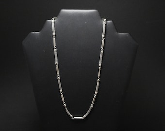 Sterling Silver Wheat and Bar Combination Chain, Men's Sterling Silver Chain, Guy Gift, Boyfriend Gift, Men's Sterling Necklace, Unique Link