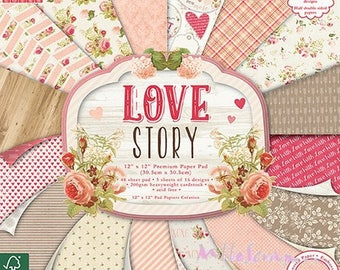 """Paper printed 30.5 X 30.5 cm, collection """"Love Story"""", background papers, 16 leaves"""