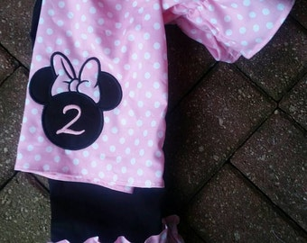 Minnie mouse clothing, Minnie mouse outfit, Disney outfit, die clothing, boutique clothing, Ruffle pants, peasant outfit