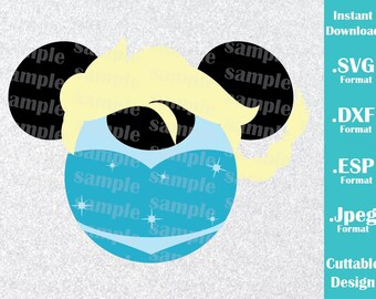 INSTANT DOWNLOAD SVG Disney Inspired Princess Elsa Frozen Mickey Ears for Cutting Machines Svg, Esp, Dxf and Jpeg Format Cricut Silhouette