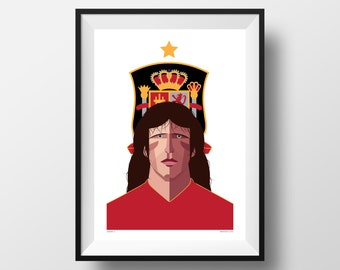 Carles Puyol A3 Poster, Spain International, Legend, Barcelona, La Liga, Illustration
