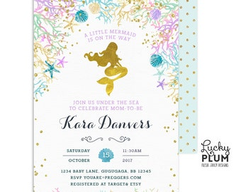 Mermaid Baby Shower Invitation / Nautical Baby Shower Invitation / Ocean Baby Shower Invite / Printable MD02