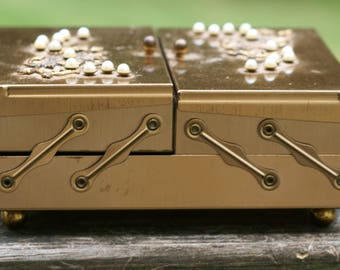 Beautiful  Vintage Brass Gold Tone Metal Folding Footed Jewelry Box with Faux Pearls