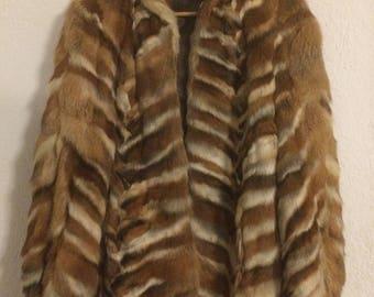 Vintage fur leather jacket / coat