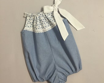 Denim Baby Bubble Romper with All Over Lace