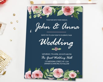Floral wedding invitation, navy blue wedding invitation, boho wedding invitation, wedding invites, wedding invitation rustic W0116