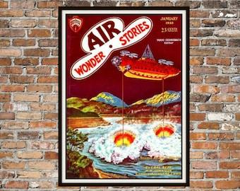 SciFi Print, Art of Vintage Science Fiction Magazine Cover, Air Wonder Stories, Print Art Item # 0150