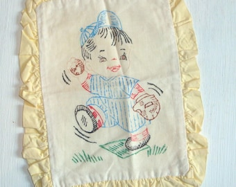 Vintage  Childs Pillow Cover, Young  Boy, Unfinished  (442-10)