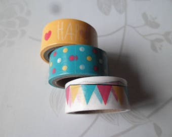 3 times 3 m adhesive tape Washi tape with multicolored pattern repositionable 15 mm