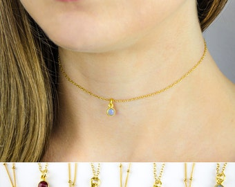 Birthstone choker necklace, Labradorite Choker Necklace, Black Choker, Layered Necklaces, tiny gemstone necklace, labradorite necklace gold