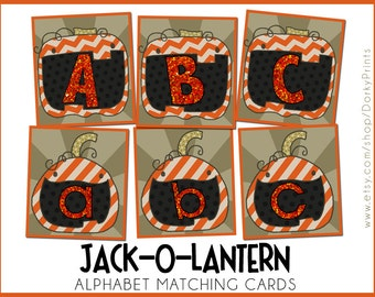Jack-o-Latern Printable Alphabet Cards PDF -  kindergarten printables - preschool printables - ABC cards