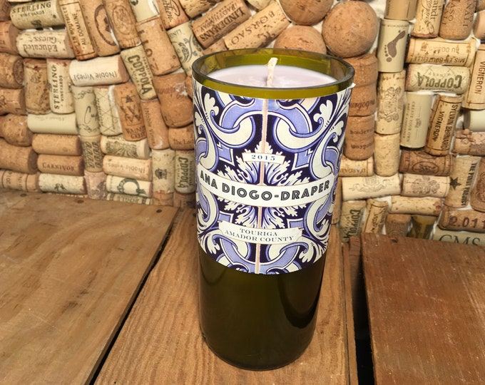 Ana Diogo-Draper Wine bottle with a Soy Zen scented candle