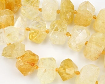 15mm-30mm Citrine Center Drill Faceted Nugget