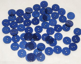 60 Blue Buttons, Clear Blue Buttons,  Two Hole Sew Through (AE 5)