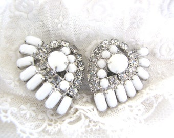 Vintage Milk Glass Rhinestone Earrings from AllieEtCie