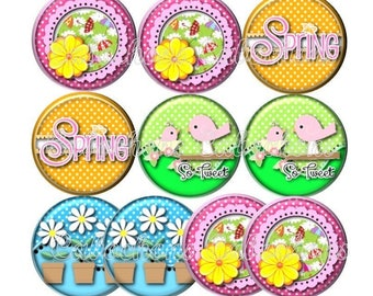 Set of 10 18mm glass cabochons, spring, nature, ref ZC132