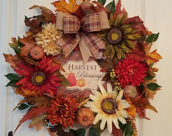 Fall Wreaths for Front Door, Harvest Wreath, Autumn Wreath, Wreath for Front Door, Front Door Wreath, Fall Door Decoration, Sunflowers,