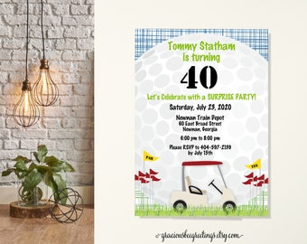 Golf Party Themed Birthday Invitation, Par-tee Golf Invite, Golf Ball Invite, Golfer's Birthday Party, 16th, 40th, Golf Retirement Party