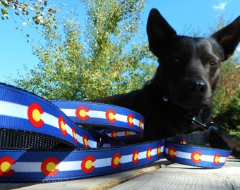 Dog leash lead: Colorado flag, US or state country flags, paws, stripes, chevron & more designs; or, match your dog's collar order